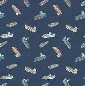 Lewis & Irene Harbour Side - 4941 - Multicoloured Fishing Boats on Navy Blue  - A178.3 - Cotton Fabric